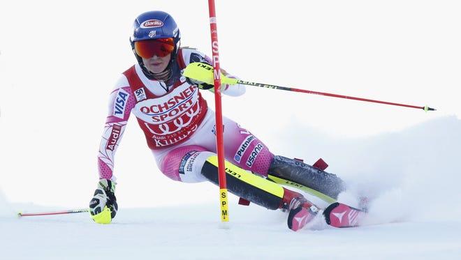 Mikaela Shiffrin of USA competes during the Audi FIS Alpine Ski World Cup Women's Slalom on November 27, 2016, in Killington, Vermont.