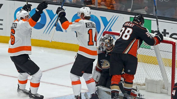 Sean Couturier celebrates a goal for the top line in a 3-2 win over the Anaheim Ducks.