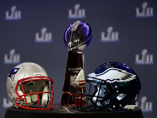 The Vince Lombardi Trophy is seen before a news conference by Commissioner Roger Goodell in advance of the Super Bowl 52 football game, Wednesday, Jan. 31, 2018, in Minneapolis. The Philadelphia Eagles play the New England Patriots on Sunday, Feb. 4, 2018. (AP Photo/Matt Slocum)