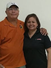 Senior Bowler of the month Ray Manibusan, left, poses with runner up Kathy Mandapat.
