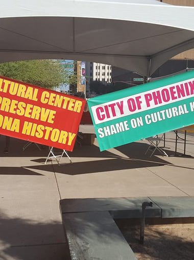 Chinese Culture Center protest in Phoenix on Oct. 4, 2017.