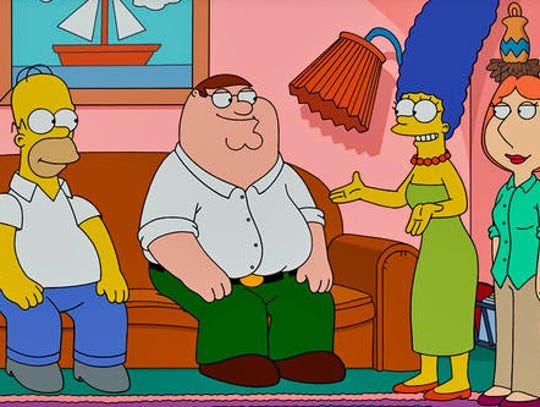 Family Guy visits The Simpsons in a 2014 crossover episode.