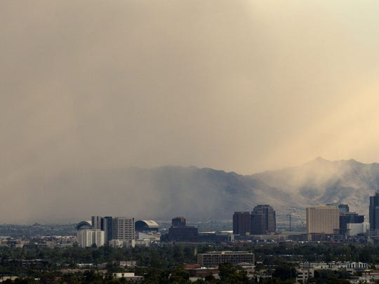 Dust storm sweeps through central Phoenix viewed from