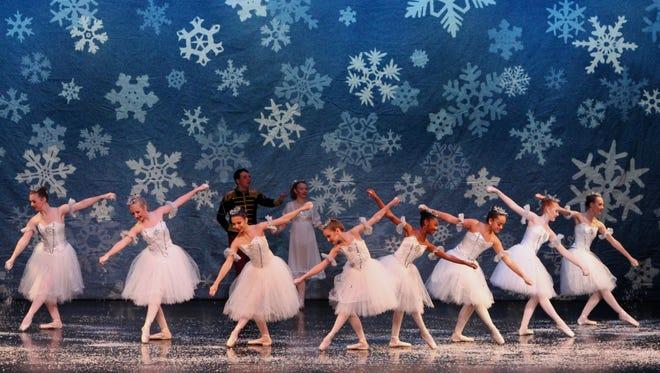 "The Snow Corp scene from the Children's Center for Dance Education's ""The Nutcracker."""