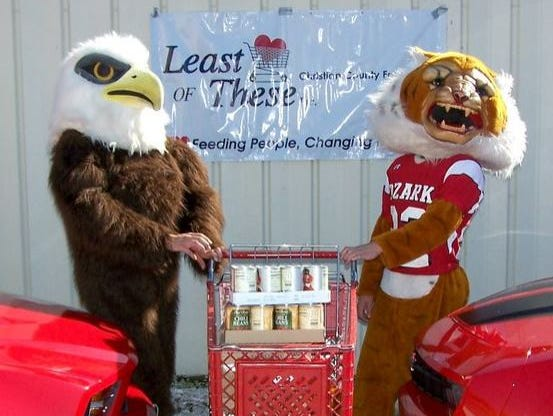 The Nixa Eagles and the Ozark Tigers collide on the high school gridiron and in an annual donation drive for Least of These food pantry.
