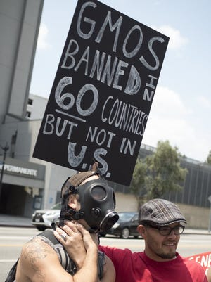 Protesters in Los Angeles on May 23, 2015.