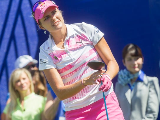 Lexi Thompson tees off on the 6th hole during the third