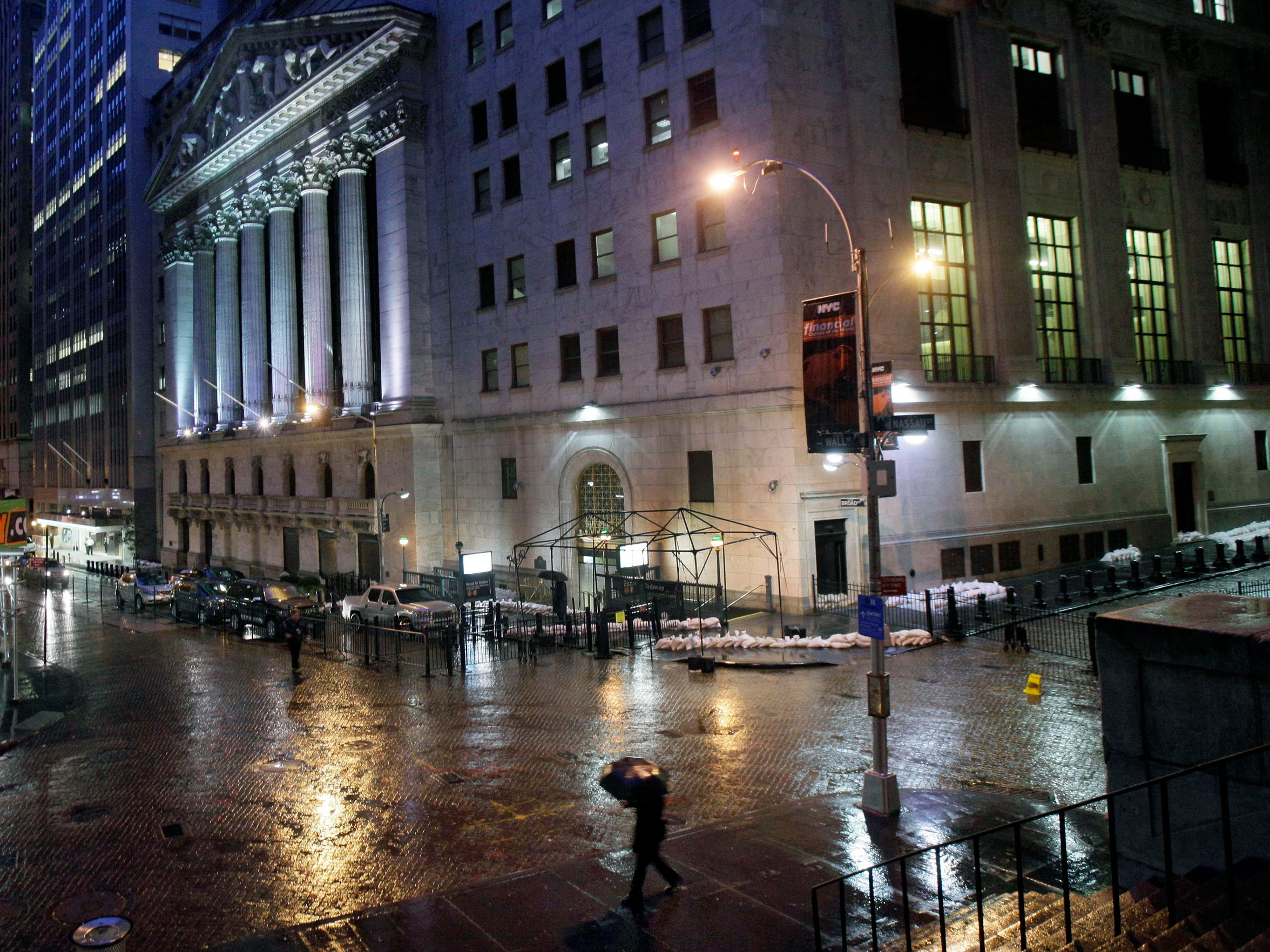 Sandbags protect the front of the New York Stock Exchange from flooding caused by Hurricane Sandy on Oct. 29, 2012.