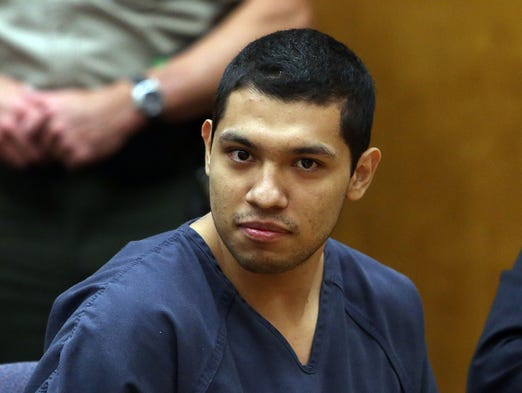Pedro Delgado Suarez is one of two men sentenced after being found guilty of conspiracy to commit murder and murder of Andrew Entizne, who was found shot to death in south Salem in April 2013.
