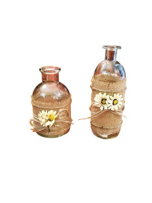 Burlap and flower bottle, $12.90, Simply Southern.