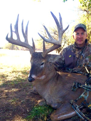 Realtree's David Blanton poses after dropping Houdini, the biggest buck he has seen in more than two decades as a professional hunter. Blanton made the kill with a bow in October 2014 near Pratt, Kan. Blanton will speak Friday, Saturday and Sunday at the Mississippi Wildlife Extravaganza in Jackson.