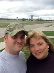 Jarrod Stebbins and his mother, Gwen Stebbins, at Ellsworth Air Force Base in Rapid City, South Dakota.