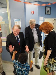 U.S. Rep. Leonard Lance (left) and Somerset County Freeholder Peter S. Palmer recently greeted young constituents as they joined Zufall Health President and Chief Executive Officer Eva Turbiner to celebrate National Health Center Week at the Zufall Somerville site. The back-to-school-themed event drew nearly 100 children who participated in fun activities promoting healthy eating and fitness. Each child also took home backpacks and school supplies. Visit zufallhealth.org.