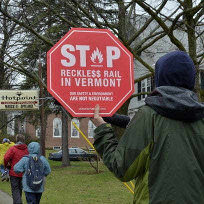 Shelburne resident Derrick Senior marches with protesters on Sunday against a salt shed project in Shelburne.