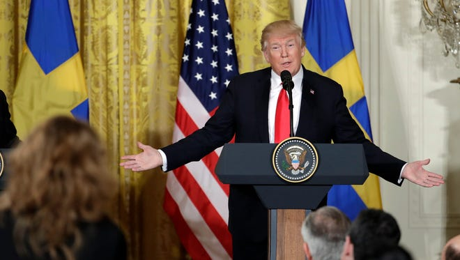 President Trump speaks during a news conference with Swedish Prime Minister Stefan Lofven in the East Room of the White House Tuesday.