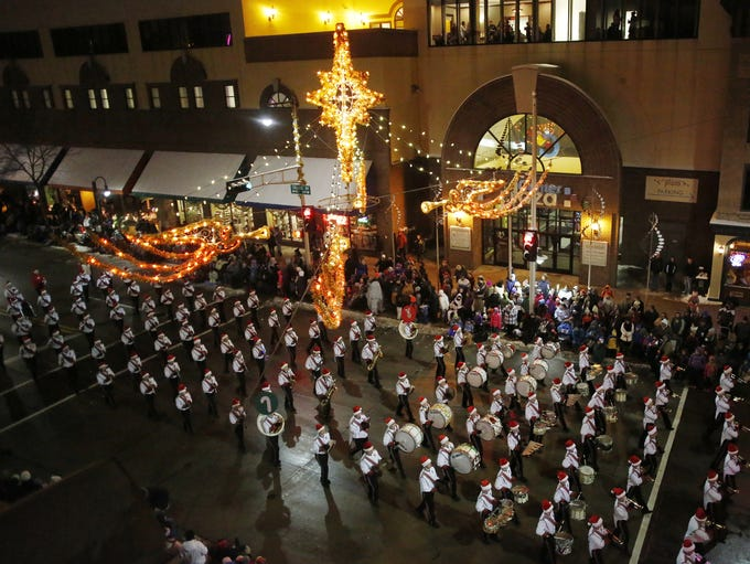 The Kimberly High School Band performs during the 44th