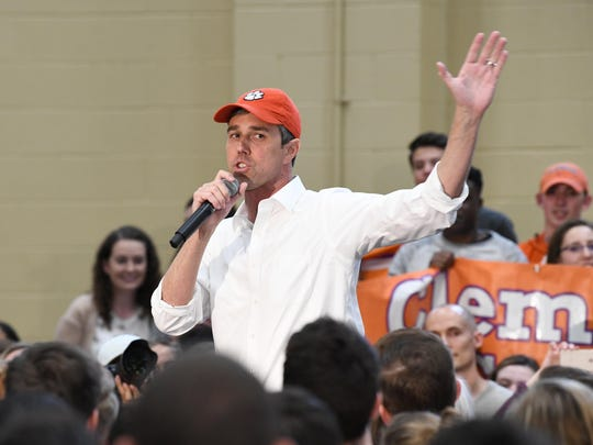 Former Texas Congressman Beto O'Rourke speaks to students at Clemson University in Clemson, S.C., Sunday, April 14, 2019.
