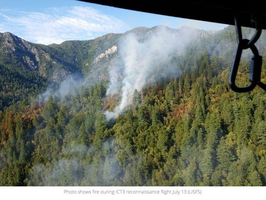 View of the Chetco Bar Fire on July 13.
