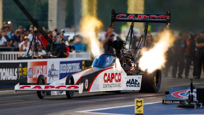 Steve Torrence, seen here last week at Bristol, now has four Top Fuel wins on the season.