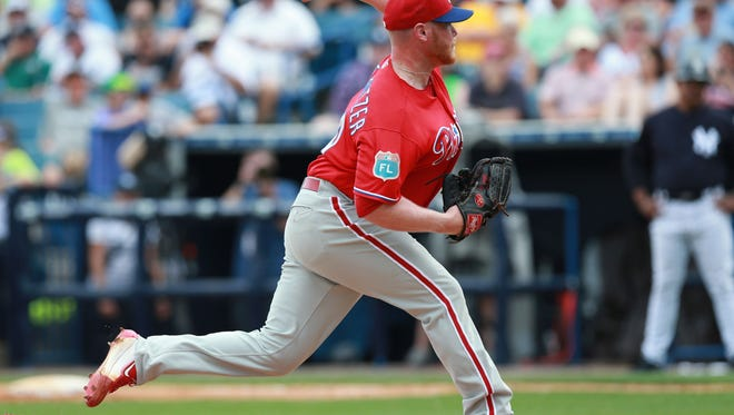 Phillies starting pitcher Brett Oberholtzer throws a pitch during the fifth inning Sunday against the New York Yankees at George M. Steinbrenner Field. Oberholtzer should make the team in either the rotation or the bullpen.