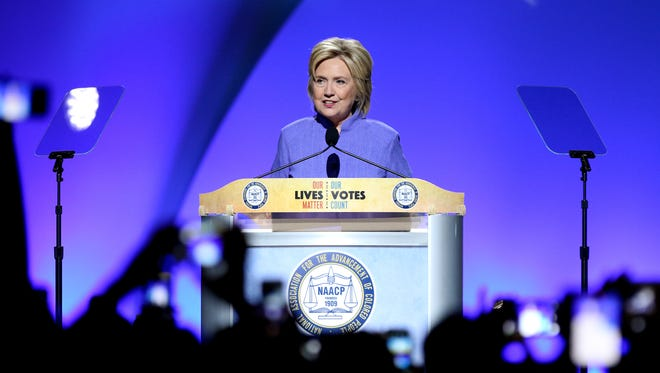 Hillary Clinton spoke Monday at the NAACP national convention at the Duke Energy Convention Center in downtown Cincinnati.