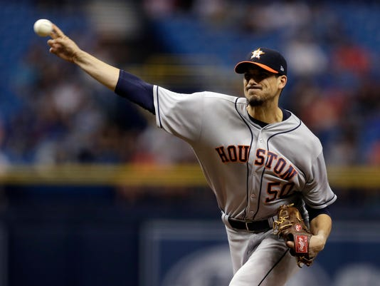 Houston Astros' Charlie Morton pitches to the Tampa Bay Rays during the first inning of a baseball game Saturday, April 22, 2017, in St. Petersburg, Fla. (AP Photo/Chris O'Meara)
