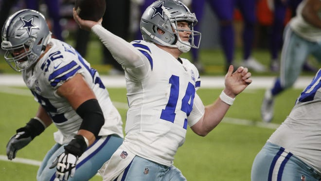 Dallas quarterback Andy Dalton throws a pass during the Cowboys' 31-28 road win Sunday. It was Dalton's first win as the starter and puts the Cowboys in a suddenly high-stakes Thanksgiving game.