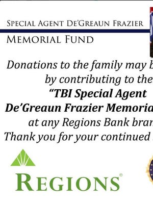 A memorial fund has been set up at Regions Bank for donations to the family of a Tennessee Bureau of Investigation agent