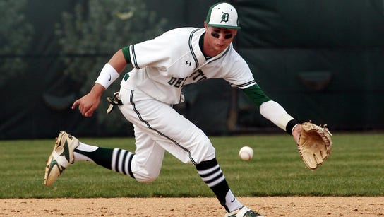 Delbarton shortstop Andrew Papantonis makes a play