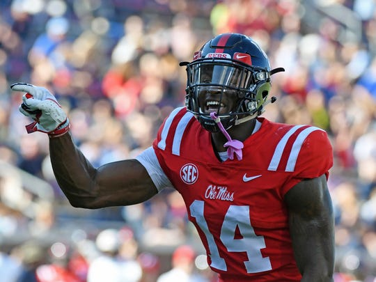 Mississippi wide receiver D.K. Metcalf (14) gestures before a play during the first half against Louisiana Monroe on Oct. 6, 2018, in Oxford, Miss.