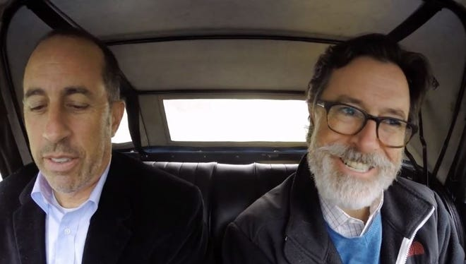 Stephen Colbert goes for a ride with Jerry Seinfeld on the season six finale of 'Comedians in Cars Getting Coffee.'