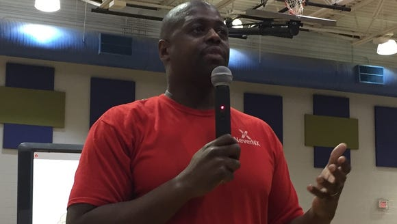 Shaun Golden    Shaun Golden speaks to students at