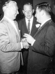Irwin Shulman, owner of the Riviera Hotel, Fred Weigel, Desert Sun reporter and Pierre Salinger, White House Press Secretary.