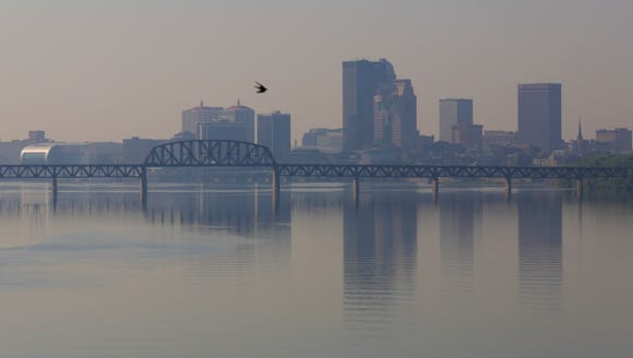 A hazy Louisville skyline earlier this year.