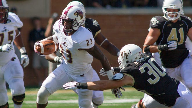 Louisiana-Monroe senior Kenzee Jackson (23) will be relied upon to give leading receiver Rashon Ceaser some help in 2014.