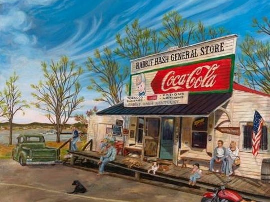 "Canadian artist Wendy Fleury recently finished a painting of the Rabbit Hash General Store to help in efforts to restore it. ""Wendy really captured the essence and spirit of Rabbit Hash,"" says Bobbi Jean Kayser, who purchased a 30 by 30 of the print on canvas and is owner of mayor Lucy Lou."