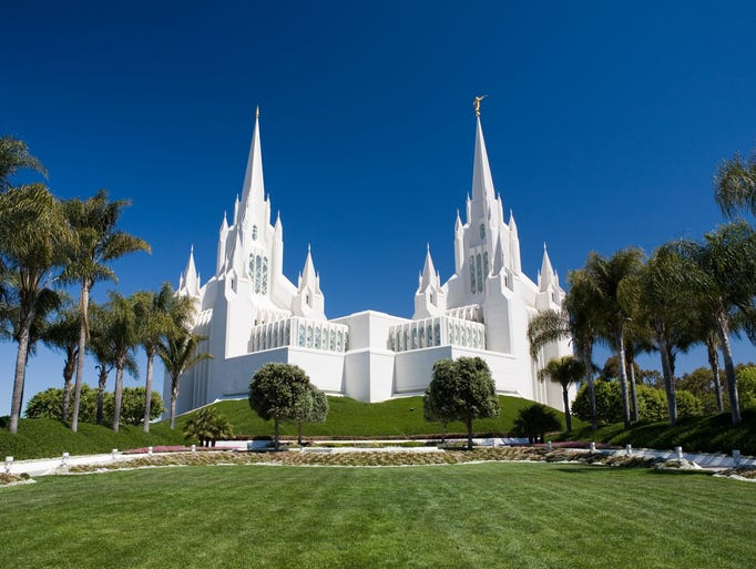 The six spires of the San Diego California                                                          Temple of the                                                          Church