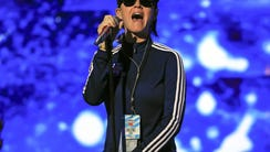 Katy Perry rehearses on stage for her performance on