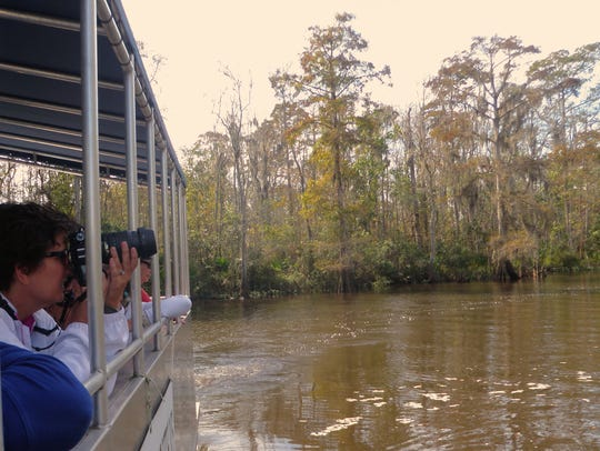 A photographer zooms in on a scene along the Pascagoula