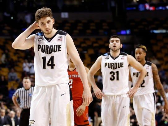 Purdue Boilermakers guard Ryan Cline (14), guard Dakota