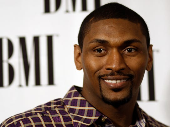 Los Angeles Lakers' Ron Artest arrives at the 59th Annual BMI Pop Music Awards in Beverly Hills, Calif., Tuesday, May 17, 2011.  The songwriters and publishers of the most performed pop songs in the United States are honored at this event. (AP Photo/Matt Sayles)