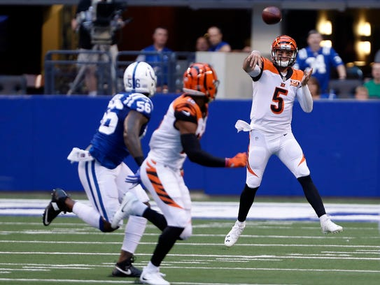 A.J. McCarron made four starts with the Bengals including