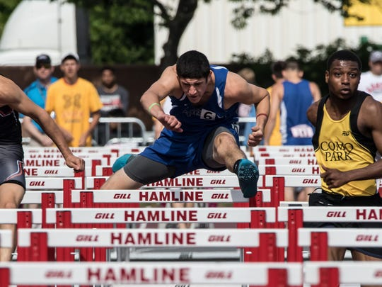 Sartell's Jake Lieberg competes in the 110-meter high hurdles Friday in the state Class 2A meet at Hamline University. Lieberg finished in 17.81 seconds to qualify for the finals.