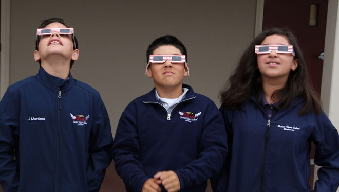 Viewing the solar eclipse at Sacred Heart School, Salinas, Aug. 21, 2017