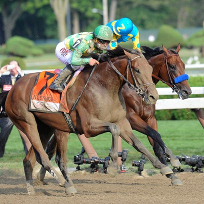 Keen Ice (7), with jockey Javier Castellano, moves