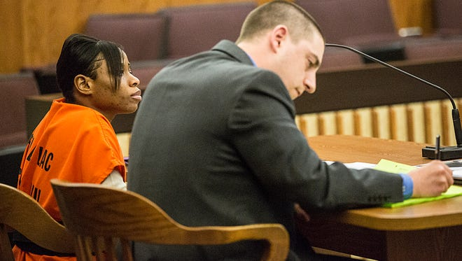 Airrealle Smart sits with defense attorney Timothy Hogan as she listens to Judge Gary Sharpe preside over her sentencing hearing Wednesday April 19, 2017 in a Fond du Lac County courtroom. Smart is accused of neglecting to act in July 2015 when her then boyfriend Daniel Griffin stepped on her twin babies, killing one and injuring the other. Doug Raflik/USA TODAY NETWORK-Wisconsin