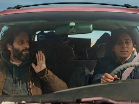 "Jason Mantzoukas, left, and Tony Revolori star in ""The Long Dumb Road."""