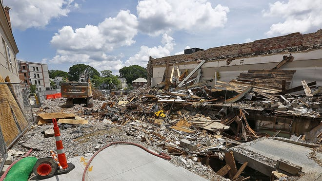 The former PayLess Shoe shop in Quincy Center on Hancock Street torn down to make way for new development on Sunday June 28,  2020 Greg Derr/The Patriot Ledger