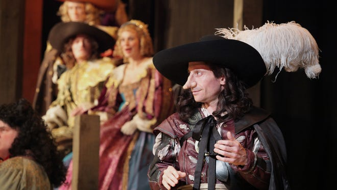 """Jeremy Dubin as Cyrano in Cincinnati Shakespeare Company's production of """"Cyrano de Bergerac"""" Based on the translation written by Anthony Burgess of the play written by Edmond Rostand, Sept. 11- Oct. 3, 2015. Directed by Brian Isaac Phillips.  Performances are located at CSC's Theatre, 719 Race St. in downtown Cincinnati."""