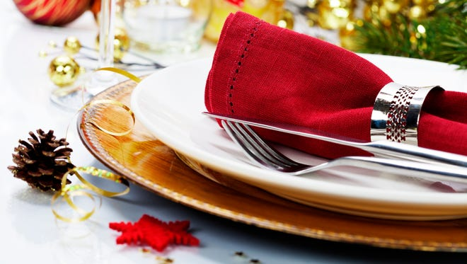 Christmas table placesetting.